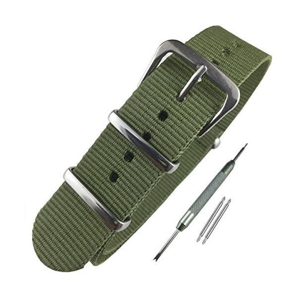 Airself NATOタイプ 時計ベルト 時計バンド ナイロン 替えバンド 替えベルト (交換説明書 交換工具 バネ棒付) (18mm, カーキー)