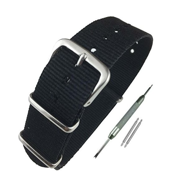 Airself NATOタイプ 時計ベルト 時計バンド ナイロン 替えバンド 替えベルト (交換説明書 交換工具 バネ棒付) (18mm, ブラック)