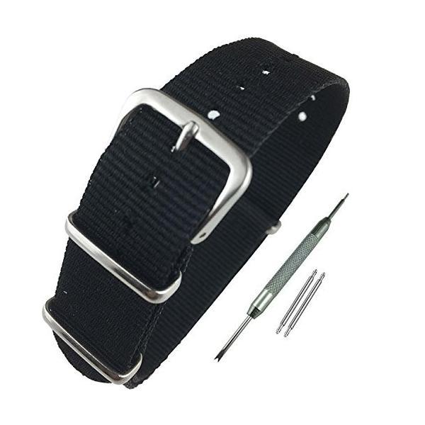 Airself NATOタイプ 時計ベルト 時計バンド ナイロン 替えバンド 替えベルト (交換説明書 交換工具 バネ棒付) (22mm, ブラック)