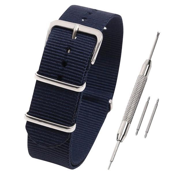 Airself NATOタイプ 時計ベルト 時計バンド ナイロン 替えバンド 替えベルト (交換説明書 交換工具 バネ棒付) (16mm, ネイビー)
