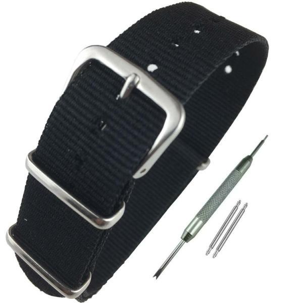 Airself NATOタイプ 時計ベルト 時計バンド ナイロン 替えバンド 替えベルト (交換説明書 交換工具 バネ棒付) (16mm, ブラック)