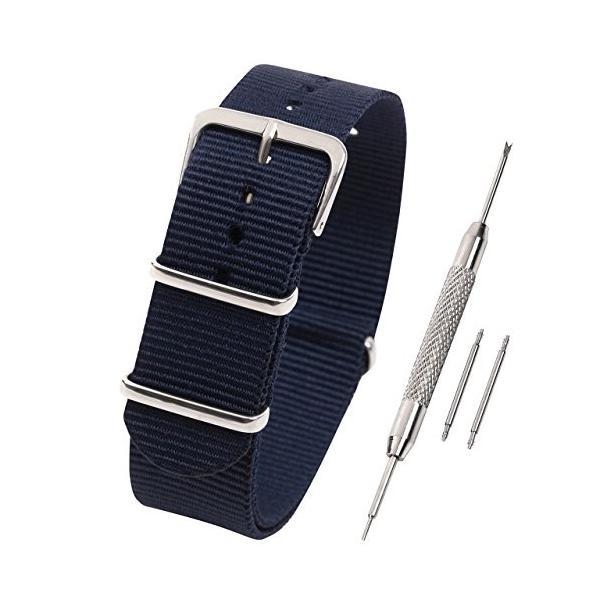 Airself NATOタイプ 時計ベルト 時計バンド ナイロン 替えバンド 替えベルト (交換説明書 交換工具 バネ棒付) (20mm, ネイビー)