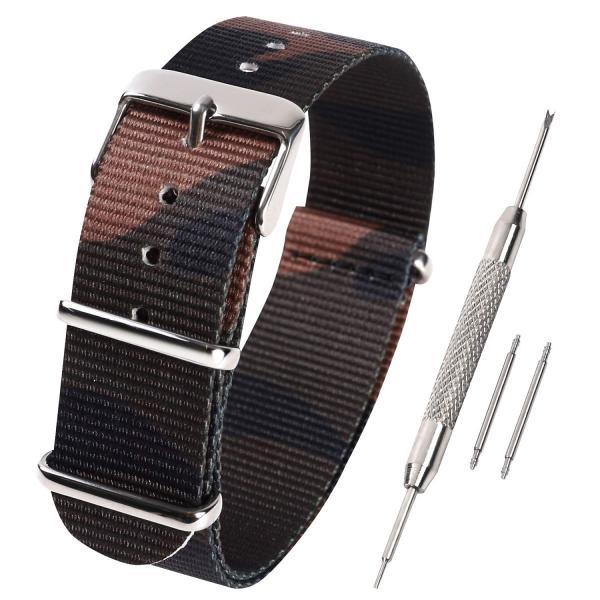 Airself NATOタイプ 時計ベルト 時計バンド ナイロン 替えバンド 替えベルト(交換説明書 交換工具 バネ棒付)