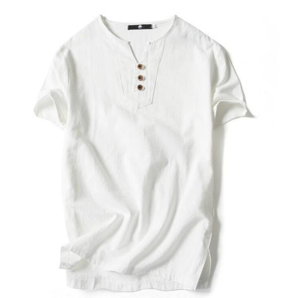 Tシャツ メンズ Vネック 半袖 カットソー 無地 Tee トップス カジュアル 涼しい リネン 麻 カジュアルシャツ 綿麻 夏 部分当日発送 代引不可|goodplus|04