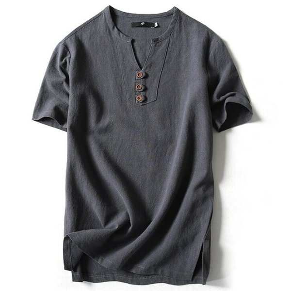 Tシャツ メンズ Vネック 半袖 カットソー 無地 Tee トップス カジュアル 涼しい リネン 麻 カジュアルシャツ 綿麻 夏 部分当日発送 代引不可|goodplus|08