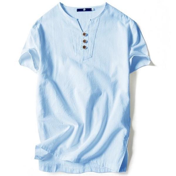 Tシャツ メンズ Vネック 半袖 カットソー 無地 Tee トップス カジュアル 涼しい リネン 麻 カジュアルシャツ 綿麻 夏 部分当日発送 代引不可|goodplus|09