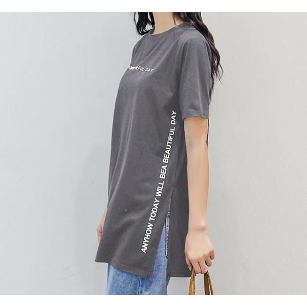Tシャツ 半袖Tシャツ チュニック レディース スリット トップス タック入り ワンピース ロング丈 通気性がいい ゆったり 体型カバー 代引不可 goodplus 14