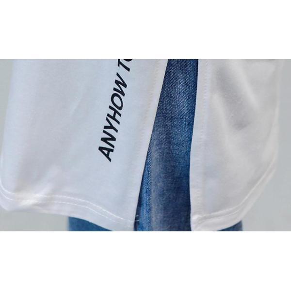 Tシャツ 半袖Tシャツ チュニック レディース スリット トップス タック入り ワンピース ロング丈 通気性がいい ゆったり 体型カバー 代引不可 goodplus 04