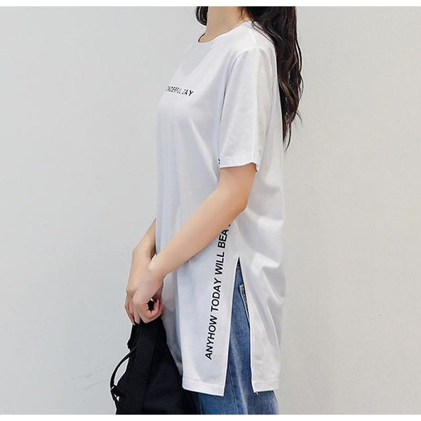 Tシャツ 半袖Tシャツ チュニック レディース スリット トップス タック入り ワンピース ロング丈 通気性がいい ゆったり 体型カバー 代引不可 goodplus 08
