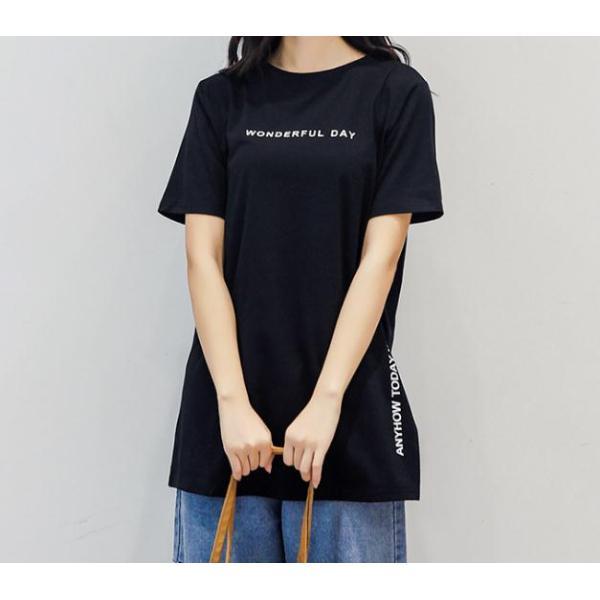 Tシャツ 半袖Tシャツ チュニック レディース スリット トップス タック入り ワンピース ロング丈 通気性がいい ゆったり 体型カバー 代引不可 goodplus 10