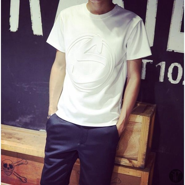 3D立体ロゴプリントTシャツ Tシャツ 半袖 5種類 メンズ クルーネック カットソー 男女兼用 インナー トップス シンプル 代引不可|goodplus|13