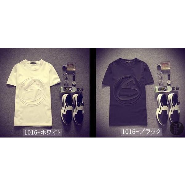 3D立体ロゴプリントTシャツ Tシャツ 半袖 5種類 メンズ クルーネック カットソー 男女兼用 インナー トップス シンプル 代引不可|goodplus|06