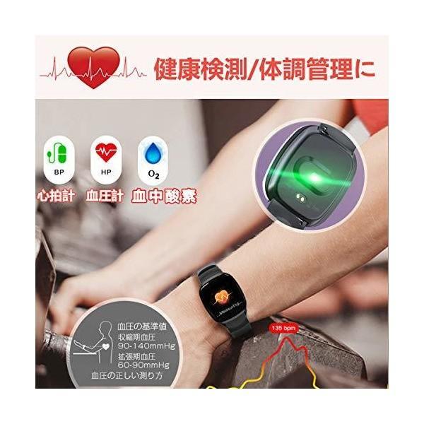多機能 最新版 スマートウォッチ 血圧 心拍計 血中酸素 gps 活動量計 リストバンド 消費カロリー 防水 スマートブレスレット 電話着信 Lin