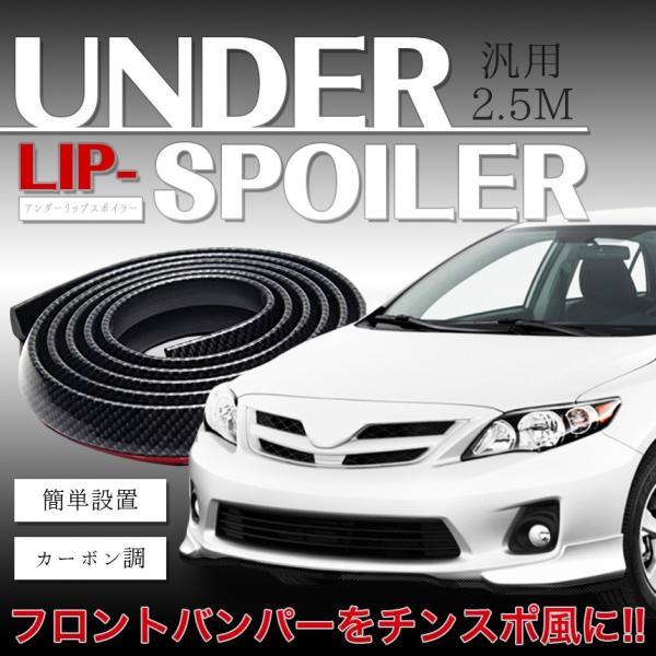 (送料無料)車用 汎用 アンダーリップモール リップスポイラー 2.5M フロントバンパーガード カーボン調 チンスポイラー スポーティ 外装 カー用品