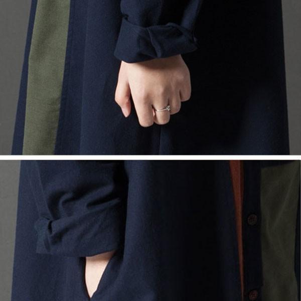 シャツ ワンピース レディース 膝上 長袖 体型カバー ゆったり 秋冬 グリーン ネイビー  カジュアル メール便のみ送料無料2♪ goodstown 11