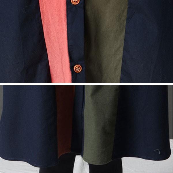 シャツ ワンピース レディース 膝上 長袖 体型カバー ゆったり 秋冬 グリーン ネイビー  カジュアル メール便のみ送料無料2♪ goodstown 12