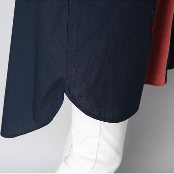 シャツ ワンピース レディース 膝上 長袖 体型カバー ゆったり 秋冬 グリーン ネイビー  カジュアル メール便のみ送料無料2♪ goodstown 13