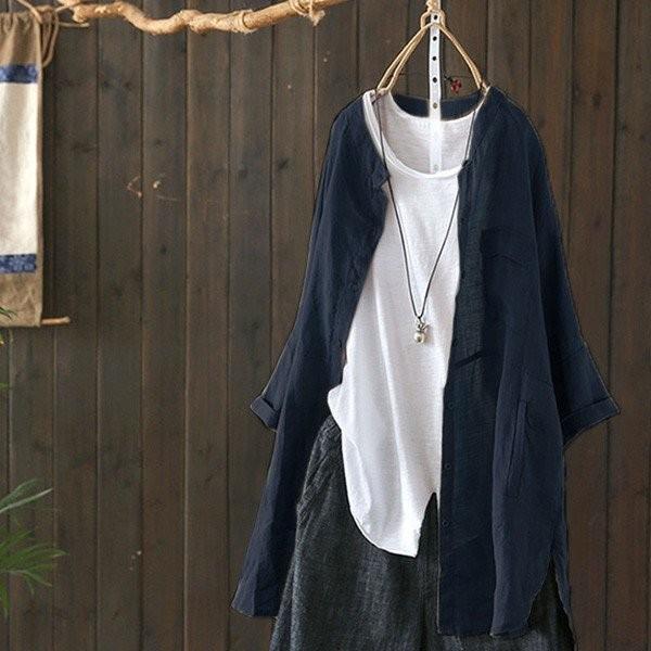 シャツ レディース トップス ブラウス ボタンシャツ 綿麻 麻混 羽織 シャツブラウス ゆったり 体型カバーメール便のみ送料無料2♪ goodstown 13