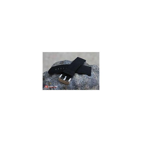 【24/22MM 120/80】 LUM-TEC (ルミテック) ST312-24 ナイロン×レザーベルト/ストラップ ブラック 替えベルト 腕時計用【あすつく】