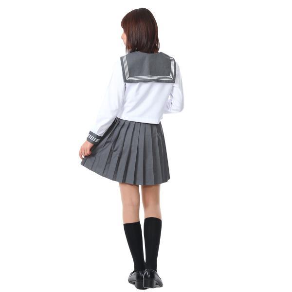 セーラー服 コスプレ 女子高生 制服 コスチューム JK 学生服 仮装 衣装 白 灰 グレー|goovice|09