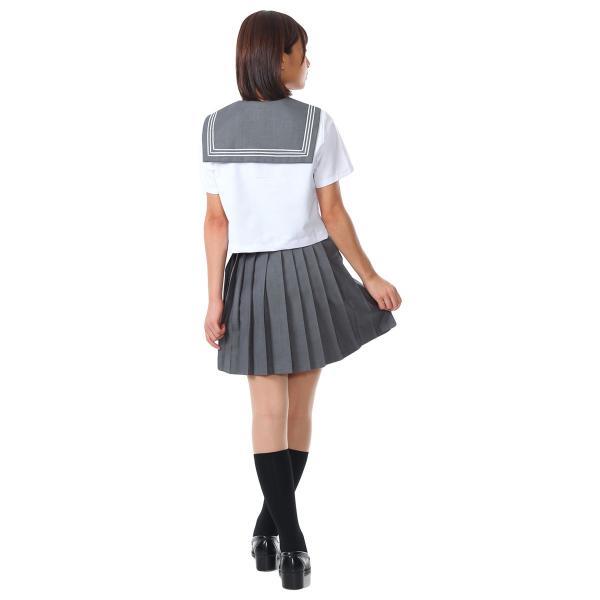 セーラー服 コスプレ 女子高生 制服 コスチューム JK 学生服 仮装 衣装 白 灰 グレー|goovice|05
