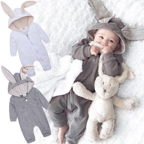 赤ちゃん 着ぐるみ うさぎ ロンパース あったか ベビー 服 ハロウィン 衣装 ウサギ カバーオール 仮装 コスプレ goovice