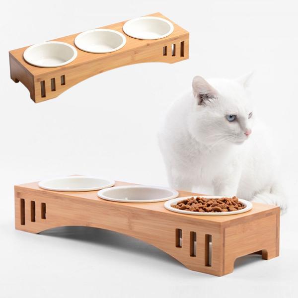 猫 食器 猫用 3匹 餌入れ ねこ 水飲み 水 皿 えさ 入れ 水入れ ボウル 子猫 食器台 陶器 可愛い スタンド セット|goovice