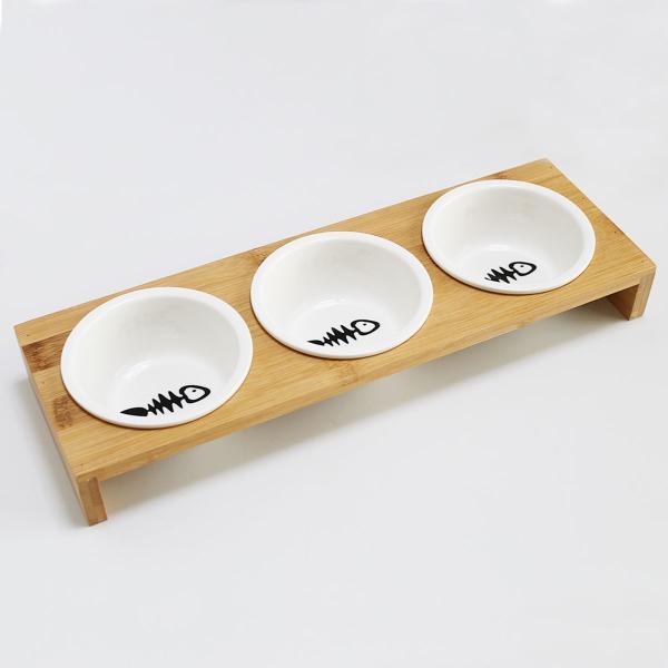 猫 食器 猫用 3匹 餌入れ ねこ 水飲み 水 皿 えさ 入れ 水入れ ボウル 子猫 食器台 陶器 可愛い スタンド セット|goovice|02