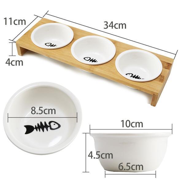 猫 食器 猫用 3匹 餌入れ ねこ 水飲み 水 皿 えさ 入れ 水入れ ボウル 子猫 食器台 陶器 可愛い スタンド セット|goovice|05