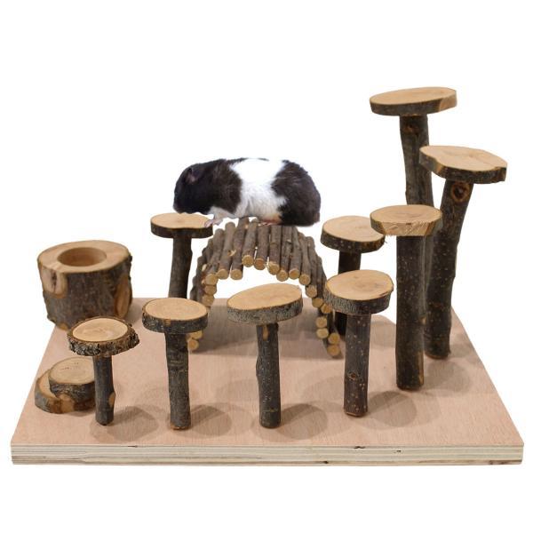 ハムスターおもちゃ遊び道具かじり木リスアスレチック木製ハリネズミトンネル餌入れ木小動物ハウス家内装セット