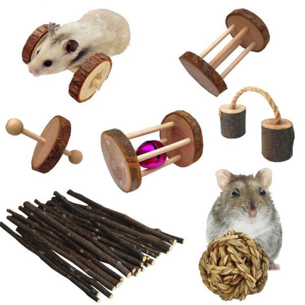 ハムスターおもちゃセットリス遊び道具かじり木ハリネズミアスレチック木製テグー運動あそび道具
