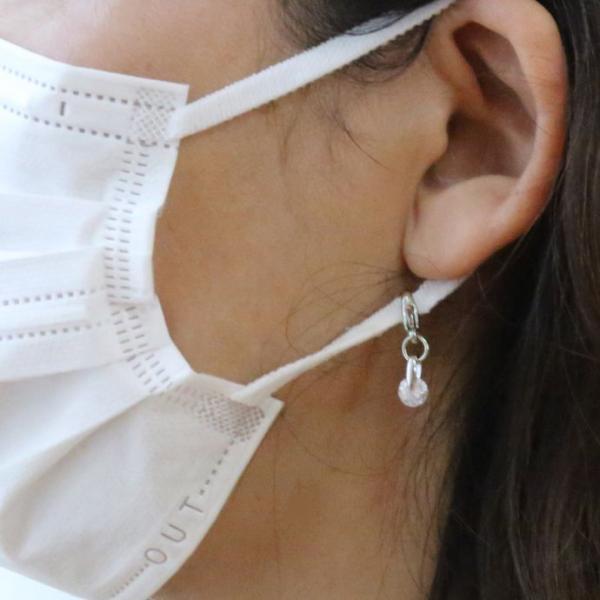 マスクチャーム マスクアクセサリー  ネックレス CZダイヤモンド 1カラット ブリリアントカット キュービックジルコニア シルバー