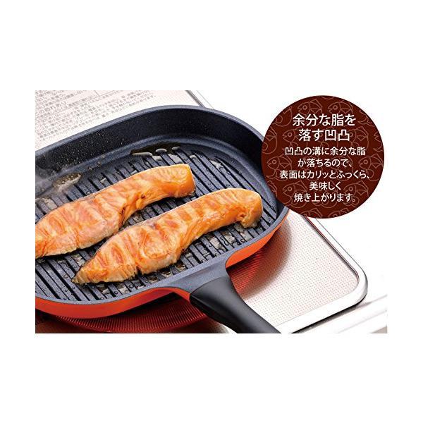 和平フレイズ フライパン グリルパン 切り身魚にちょうどいい魚焼きパン こんがり庵 蓋付 ダイヤモンドコート IH対応 KM-9149|gorira-store|06