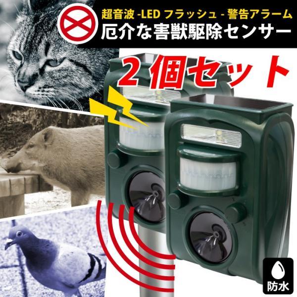 【あすつく】(2個セット)動物撃退器 害鳥 動物よけ 赤外線センサー感知 超音波 LEDライト 野良猫 防水 ソーラーパネル充電 猫駆除 ネズミ GR-1【送料無料】