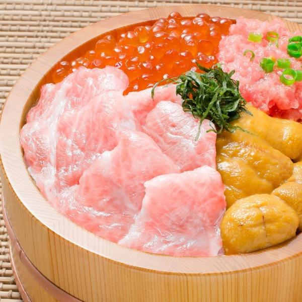 築地の海鮮丼セット(究極・約2杯分)本マグロ大トロ特盛り200g&無添加生うに&北海道産イクラ&王様のネギトロ|gourmet-no-ousama|02