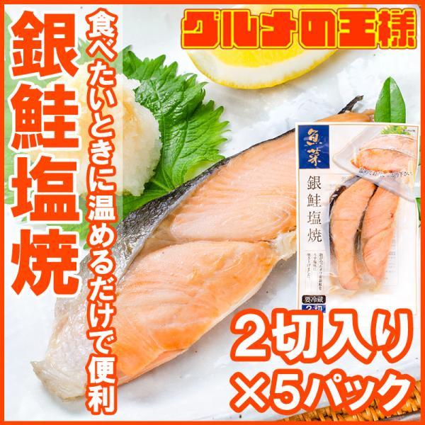 銀鮭 塩焼 2切れ×5パック 鮭の塩焼 サケ 鮭 しゃけ  サーモン 塩焼き 焼き魚 切り身 魚菜 ファストフィッシュ レトルトパック