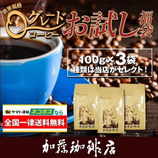 全国一律送料無料1000円ポッキリ【ネコポス】Qグレードお試し福袋(Qコス・Qグァテ・Qニカ/各100g)|gourmetcoffee