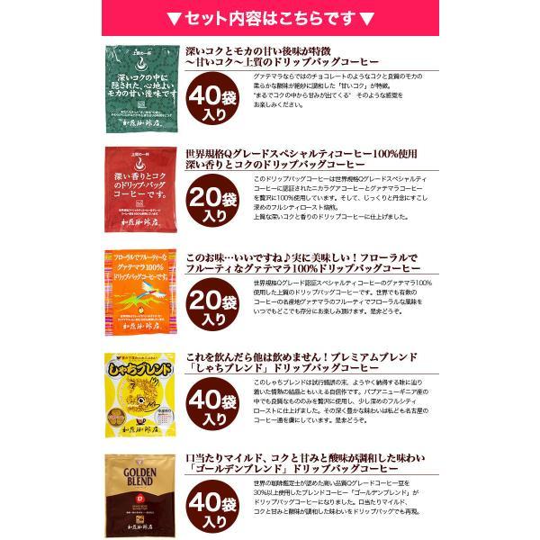 ドリップコーヒー コーヒー 200袋セット 7種類 ゴクゴクセット (おから・青10・赤10・深20・芳40・グァテ40・鯱40・G40) 珈琲 送料無料 加藤珈琲|gourmetcoffee|02