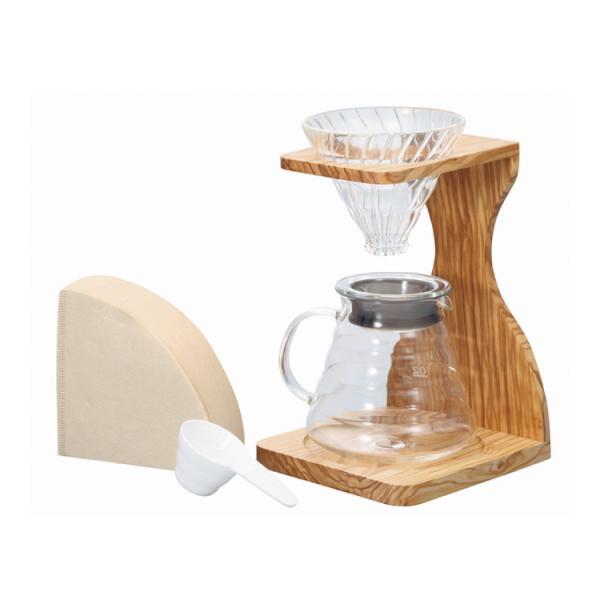 [お取り寄せ商品]V60オリーブウッドスタンドセット/ハリオ(HARIO)ドリップセット/グルメコーヒー豆専門加藤珈琲店 gourmetcoffee