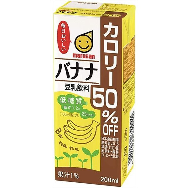 送料無料 マルサンアイ 豆乳飲料 バナナカロリー50%オフ 200ml×24本