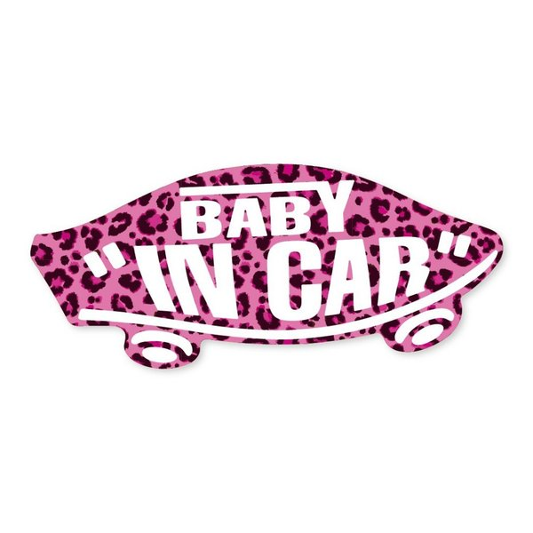 BABY IN CAR ステッカー ピンク ヒョウ柄 赤ちゃん 乗ってます ベビーインカー アニマル柄 スケボー 車 シール パロディ VANS風