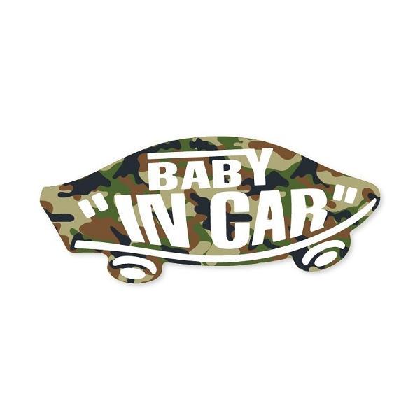 BABY IN CAR ステッカー カモフラ 迷彩柄 赤ちゃんが乗ってます ベビーインカー スケボー 車 シール パロディ VANS風
