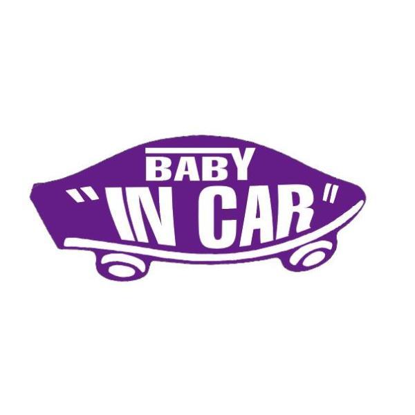 BABY IN CAR ステッカー パープル 紫 赤ちゃんが乗ってます ベビーインカー スケボー 車 シール パロディ VANS風