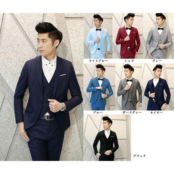 3点セット ベスト付き メンズスリムスーツ 洋装 フォーマル スーツ リクルートスーツ 卒業式スーツ 面接 入学式 7カラー 大きいサイズ有 花婿スーツdg332f0f0x0|graceshop04