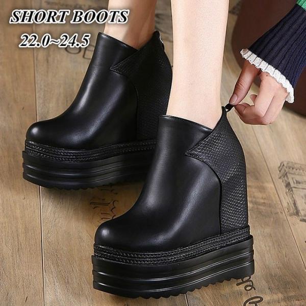 565e28f38fa387 ショートブーツ レディース 冬靴 ブーツ ブーティー 黒 厚底靴 美脚 インヒール 厚底 疲れにくい 大人 ...