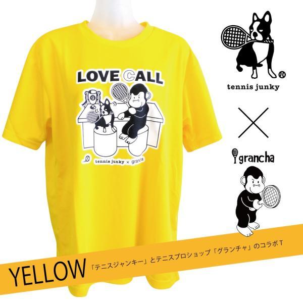 【ネコポス便送料無料】テニスジャンキー×テニスプロショップ「グランチャ」 コラボTシャツ【イエロー】|grancha914
