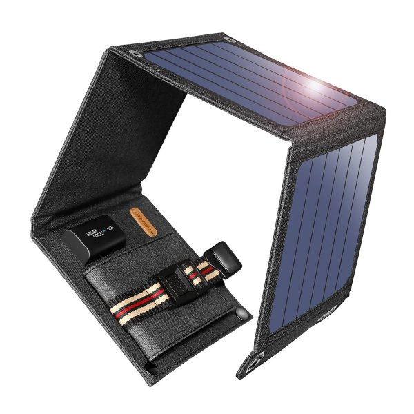suaoki ソーラーチャージャー 14W ソーラーパネル 4枚搭載 折りたたみ式 USB自動検知機能搭載 軽量 コンパクト ポータブル アウトドア 防災 非常用時 スマホなど|grandbox