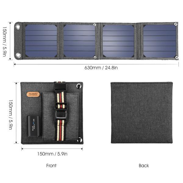 suaoki ソーラーチャージャー 14W ソーラーパネル 4枚搭載 折りたたみ式 USB自動検知機能搭載 軽量 コンパクト ポータブル アウトドア 防災 非常用時 スマホなど|grandbox|04