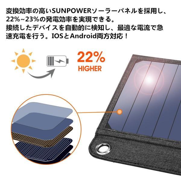 suaoki ソーラーチャージャー 14W ソーラーパネル 4枚搭載 折りたたみ式 USB自動検知機能搭載 軽量 コンパクト ポータブル アウトドア 防災 非常用時 スマホなど|grandbox|05