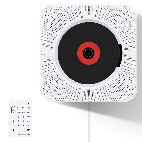 CDプレーヤーVIFLYKOO新型置き&壁掛け式Bluetooth/FM/USB対応ポータブルCDプレーヤーコンパクトハイビジョ